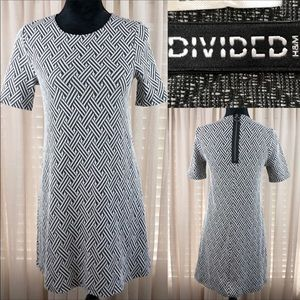 Divided back zip dress. Charcoal and cream…